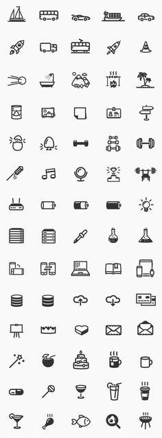 Modern outline icons - The smart and modern outline icons are easy to change color and resize.
