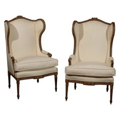 Pair of Louis XVI Style Wing Bergeres | From a unique collection of antique and modern bergere chairs at http://www.1stdibs.com/furniture/seating/bergere-chairs/