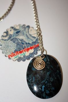Beautiful deep blue coral fossil pendant <3 Customize it with cute charms!