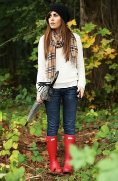 Ivory sweater, Burberryesque scarf, red Hunter wellies | Dress Corilynn