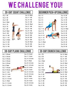 My april Workout Challenges! Squat Challenge, Push Up Challenge, Plank Challenge, Crunch Challenge Fitness Herausforderungen, Fitness Motivation, Sport Fitness, Fitness Workouts, At Home Workouts, Health Fitness, Fitness Goals, Physical Fitness, Health Club