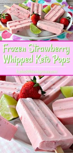 only six ingredients these Creamy Dreamy Frozen Strawberry Whipped Keto Pops are the perfect summertime frozen treat for sticking to your keto diet plan and for indulging in something deliciously sweet. Keto Snacks, Snack Recipes, Dessert Recipes, Dessert Ideas, Cookie Recipes, Dinner Recipes, Low Carb Desserts, Low Carb Recipes, Keto Friendly Desserts