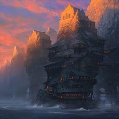 How I Became an Artist — Medium - fantasy artist Noah Bradley Noah Bradley, Fantasy City, Fantasy Places, Fantasy World, Fantasy Island, Environment Concept, Environment Design, Environment Painting, Illustrations