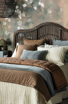 Rigare bedspread with Luchesi copper comforter and eurocase, Ambiente slate comforter, cushion and eurocase and Curvare brown wash headboard Bed Linen Design, Bed Design, Linen Bedding, Bedding Sets, Master Bedroom, Bedroom Decor, Bedspreads Comforters, Fine Linens, Contemporary Interior