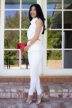 white peplum top with white skinny jeans, silver pumps