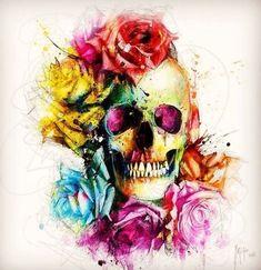 Dead Or Alive Canvas Art by Patrice Murciano Caveira Mexicana Tattoo, Tattoo Caveira, Skull Artwork, Skull Painting, Murciano Art, Los Muertos Tattoo, Catrina Tattoo, Totenkopf Tattoos, Skeleton Art