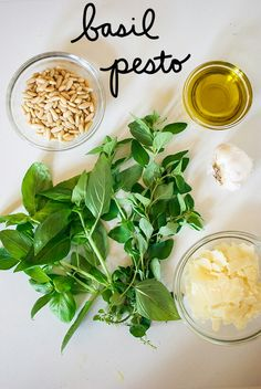 Basil & Oregano Pesto Recipe: 1 cup fresh basil, 1 cup fresh oregano, 1/4 cup pine nuts, toasted, 1/4 cup parmesan cheese, 2 garlic cloves, 2 Tlbs. freshly squeezed lemon (about 1/2 of a small lemon), 2 Tlbs. olive oil, sea salt and freshly ground pepper to taste. Toast the pine nuts for 3-4 minutes at 350 degrees, until slightly golden in color. Combine all ingredients in a blender or food processor and mix well.