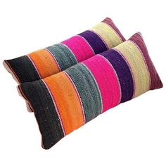 Bolivian Frazada Lumbar Pillows - Set of 2 by Chairish