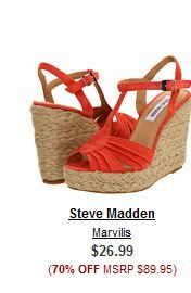 Steve Madden shoe sale 70% off. Wedges and sandal sale. FREE SHIPPING.