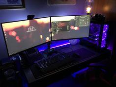 Long time lurker here's my Battlestation! Gamer Setup, Pc Setup, Desk Setup, Room Setup, Custom Gaming Computer, Computer Rooms, Gaming Rooms, Gamer Room, Pc Gamer