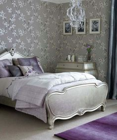 Opulent For a space like the bedroom, make a sophisticated statement with a metallic print in a soft lavender and silver palette.
