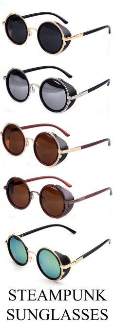 a7f73e32d64f Unisex Steampunk Round Mirror Lens Glasses