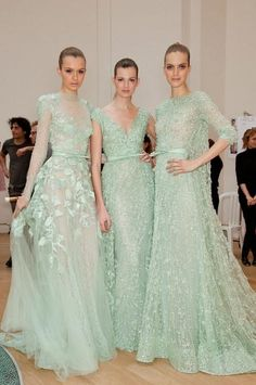 Elie Saab - love the mint color of these beautiful gowns!