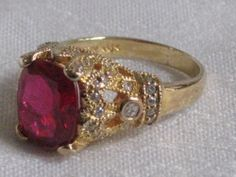 JBK JACQUELINE BOUVIER KENNEDY JFK CRYSTAL RHINESTONE RUBY RED RING NEW #Statement