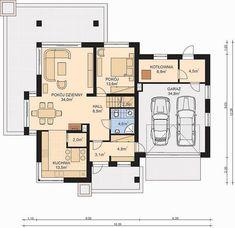 APS 274 + 2G - zdjęcie Rzut parteru House Layout Plans, House Layouts, Modern Farmhouse Plans, Design Case, Planer, Logo Design, Floor Plans, House Design, How To Plan