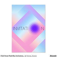 Club Party Pink Blue Invitation Vip Invitation