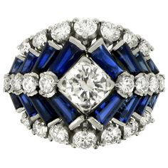 TIFFANY & CO Sapphire, Diamond, Platinum & Iridium Ring. Circa 1960.