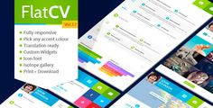 Buy FlatCV - vCard Resume PSD Template by ThemeREX on ThemeForest. Flat CV is a unique multipurpose vCard! Flat CV perfectly suits for placing your personal information: your skills, l. Template Site, Psd Templates, Graph Design, Web Design, Flat Design, Professional Wordpress Themes, Theme Forest, Curriculum Vitae, Online Resume