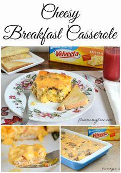 Family Recipes: Velveeta Cheese Breakfast Casserole is the cheesiest breakfast casorle recipe you will ever make!