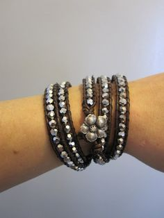 leather wrap bracelet with silver beads