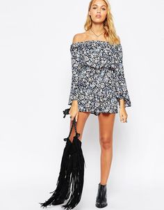 Image 4 ofASOS Off Shoulder Playsuit with Flutter Sleeves in Pretty Floral Print