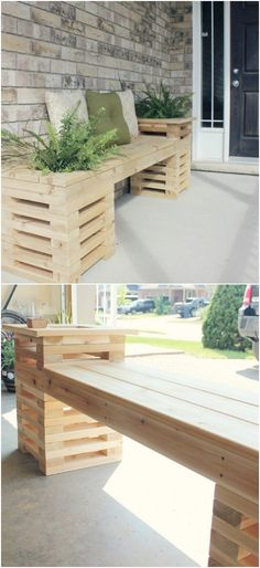 18 Decorative DIY Garden Benches That Add Warmth And Comfort To easy diy bench - Easy Diy Crafts Wooden Bench Seat, Diy Bench Seat, Bench Decor, Outdoor Wood Bench, Diy Wood Bench, Table Bench, Outdoor Chairs, Planter Bench, Diy Planter Box
