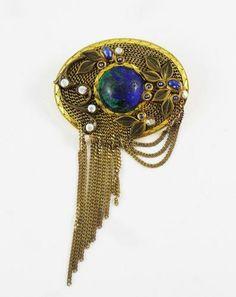 Marena Vintage Art Deco Designer Germany Marbled Cabochon Brooch Pendant   eBay