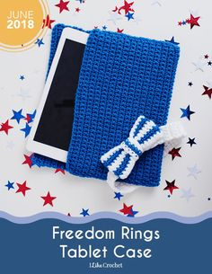 The simple crochet case your tablet needs and complete with a bow #crochetpattern
