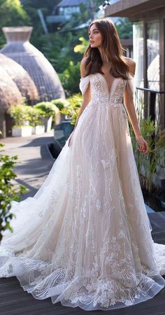 45 Elegant off the shoulder wedding dresses - wedding dress Finding stunning wedding dresses to choose from is so much more involved than a bride would think. If you're looking a perfect wedding dress. Rainbow Wedding Dress, Stunning Wedding Dresses, Modest Wedding Dresses, Elegant Wedding Dress, Perfect Wedding Dress, Wedding Dress Styles, Designer Wedding Dresses, Wedding Attire, Bridal Dresses