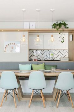 50 Best Modern Dining Room Design Ideas - Home Decorating Inspiration Kitchen Interior, Room Interior, Kitchen Decor, Kitchen Design, Decorating Kitchen, Dinner Room, Salon Interior Design, Cuisines Design, Dining Room Design