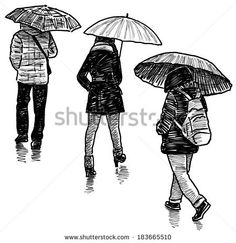 persons in the rain - stock photo
