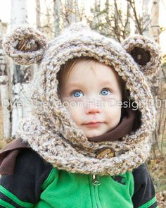The super Bear Hood designed by Over The Moon Hat Design