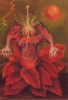 Frida Kahlo, 1944, The Flower of Life. Frida saw flowers as a symbol of sexuality and feelings. She would often project her sexuality onto her paintings.Here she paints an inverted mandrake plant in the form of male and female sex organs.