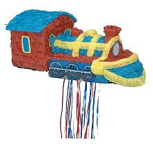 train pinata with pull strings (no bats required)
