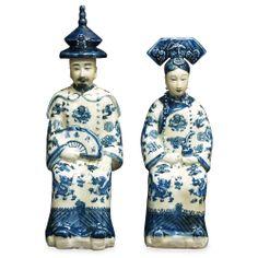 Blue & White Porcelain Emperor and Empress