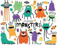 Monstruito Clip Art / pequeño monstruo Clipart / por DreamyDuck