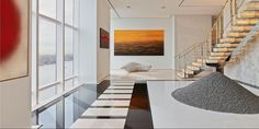 The duplex penthouse on the floor, designed by ODA Architecture, has … - Home Decoration Manhattan Penthouse, Luxury Penthouse, Luxury Apartments, Luxury Homes, Feng Shui, Lobby Design, Apartment Entrance, Apartment Interior, East River