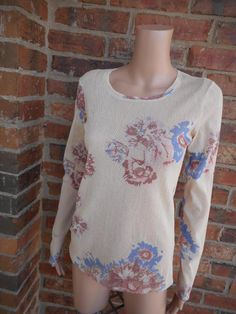 LILITH Floral Mesh Top Size 38 S Scoop Neck Long Sleeve Semi Sheer Women #Lillith #KnitTop #Casual