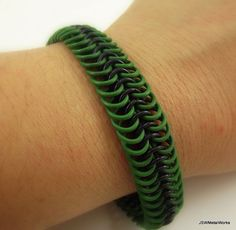 Aluminum Stretch Bracelet Green and Black by JSWMetalWorks on Etsy