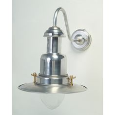 Silver Fisherman's Outdoor Wall Light Rated IP44 for outdoor use, but very popular for inside decor with a modern nautical or coastal theme, comes in 2 sizes