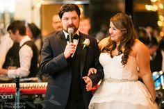 Groom giving a thank you speech at his wedding reception in Savannah Georgia