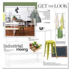 Industrial Mixing Kitchen by cruzeirodotejo on Polyvore featuring interior, interiors, interior design, home, home decor, interior decorating, Bloomingville, Dot & Bo, HAY and Food Network