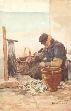 SERIES HOLLAND FISCHER VOLENDAM Dutch man sits on quay right hand on basket, looking down, smoking pipe- Hans Herrmann