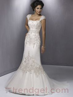 Simple A-line Off-the-shoulder Floor-length Lace White Wedding Dresses - $178.99 - Trendget.com