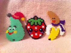 Happy Fruit Magnets perler beads by MeltyCreations