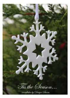 Tis the Season ~ snowflakes by Design Sturm = This lady makes the most beautiful snowflakes - simply stunning. Tis The Season, Snowflakes, Most Beautiful, Seasons, Christmas Ornaments, Holiday Decor, Lady, How To Make, Design