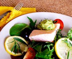 Poached Wild Salmon with Avocado-Tarragon Aioli on Greens