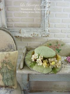 French old fashion hat - Shabby romantic anise green- Fashion Accessory for miniature doll house in 1:12the scale