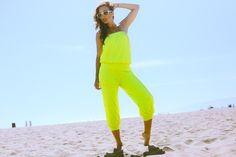 #clubwear21.com #dress #fashion Neon green terry tie front retro smocked waist romper jumpsuit-$29.00