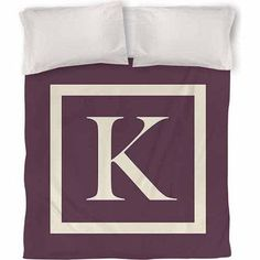 Thumbprintz Classic Block Monogram Duvet Cover, Eggplant, Purple